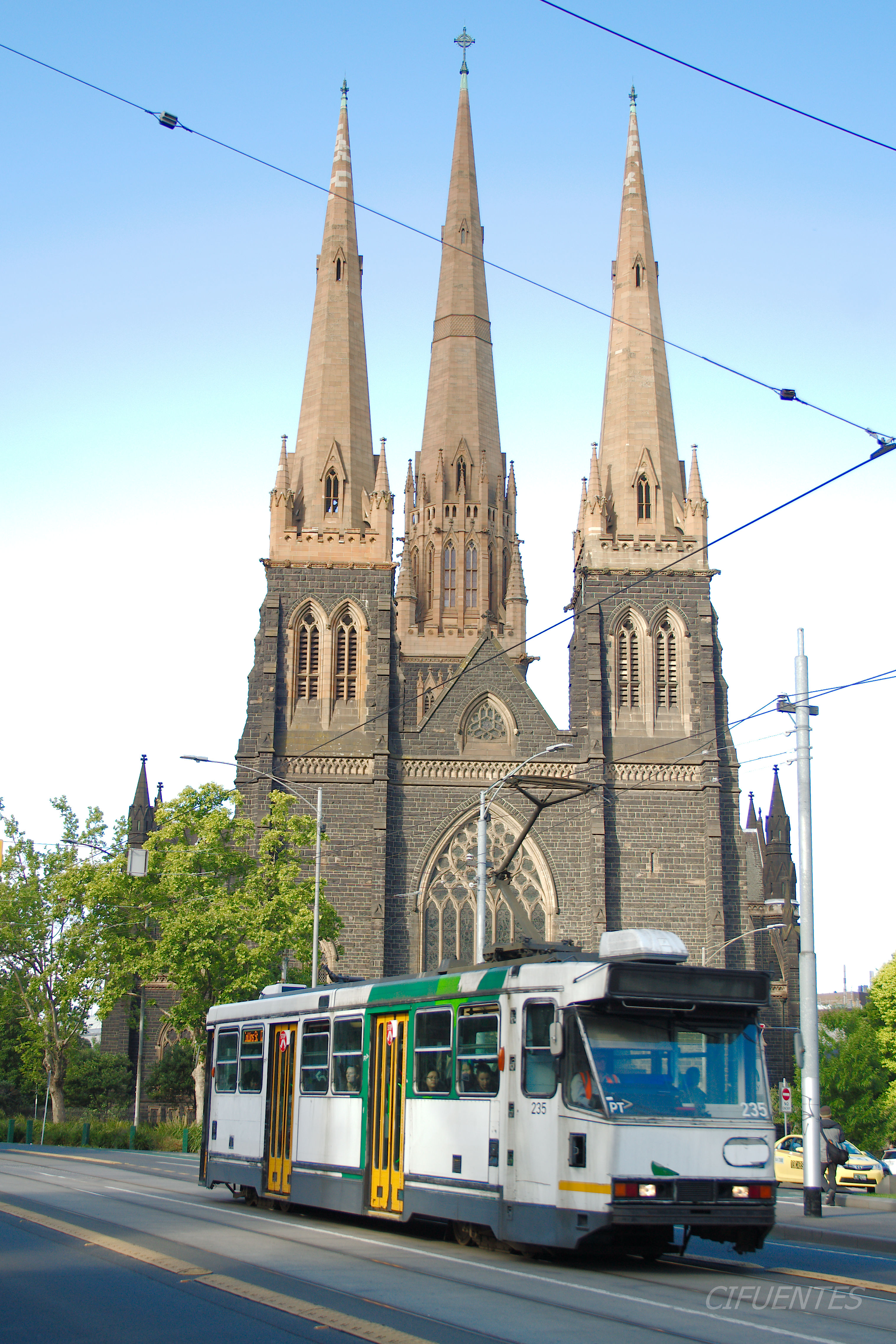 Tram At St Patrick's Cathedral. Melbourne