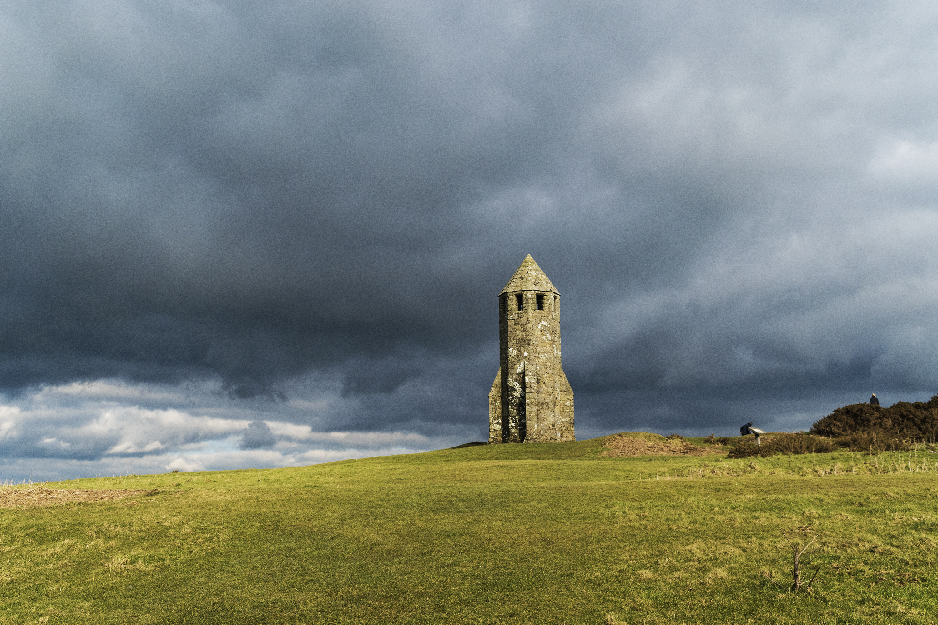 Storm clouds over the Pepperpot, St Catherine's Oratory