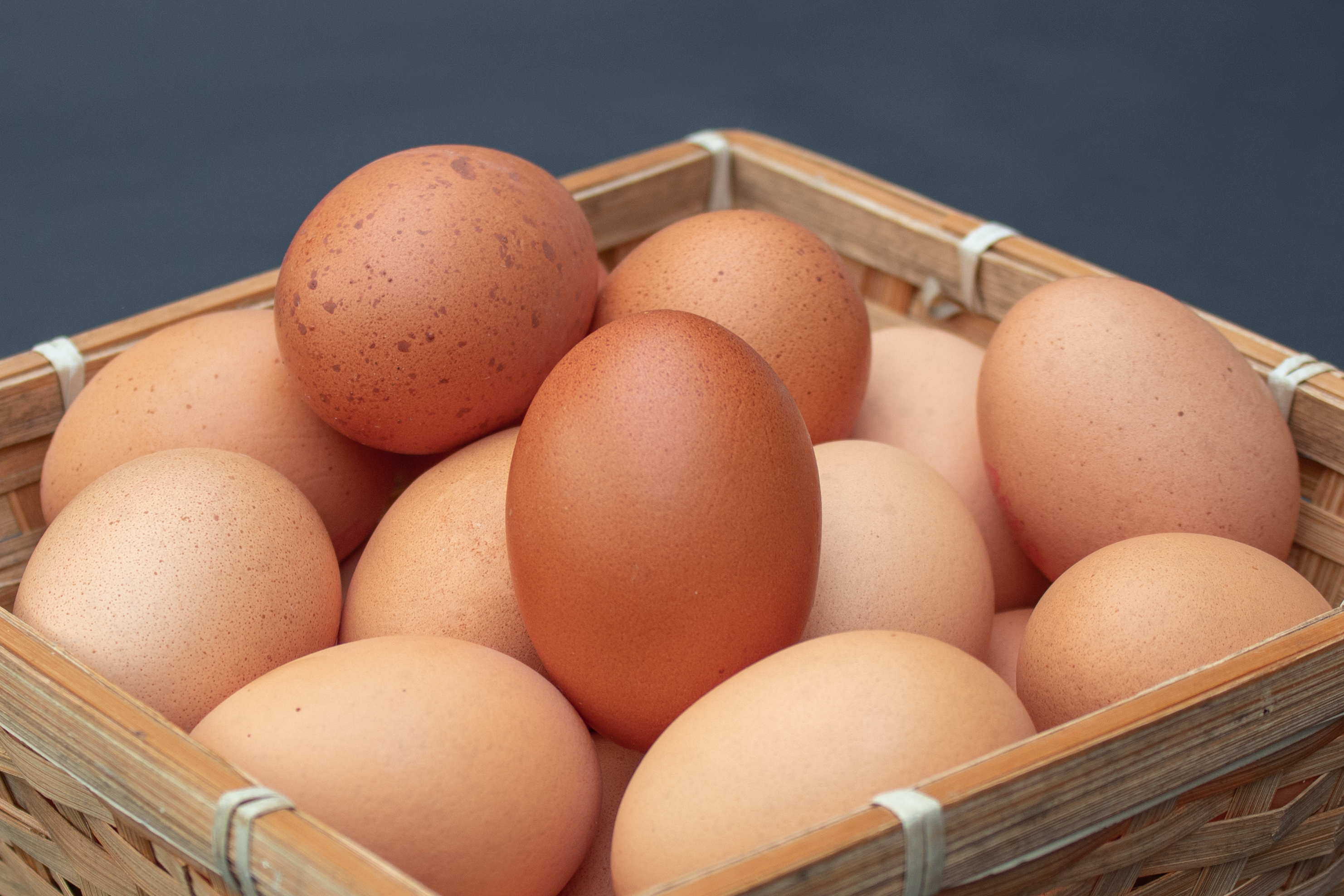 A Basket of Hens Eggs from the Side