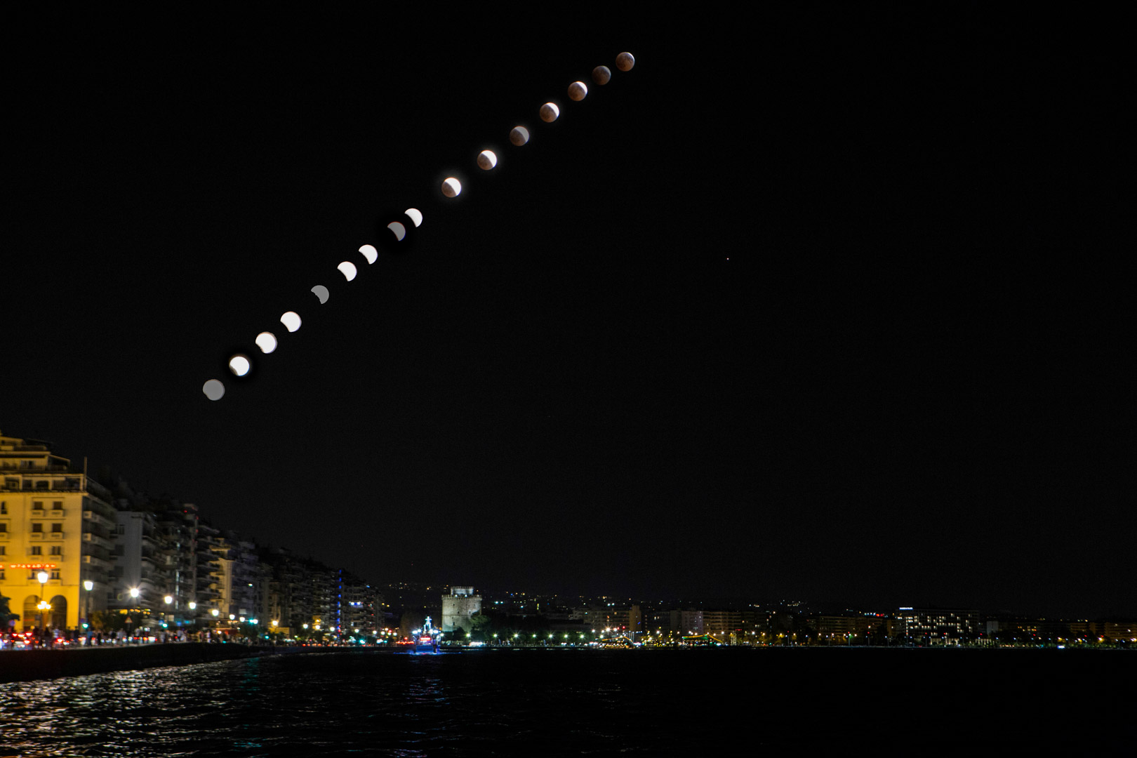 Lunar eclipse over the city of Thessaloniki