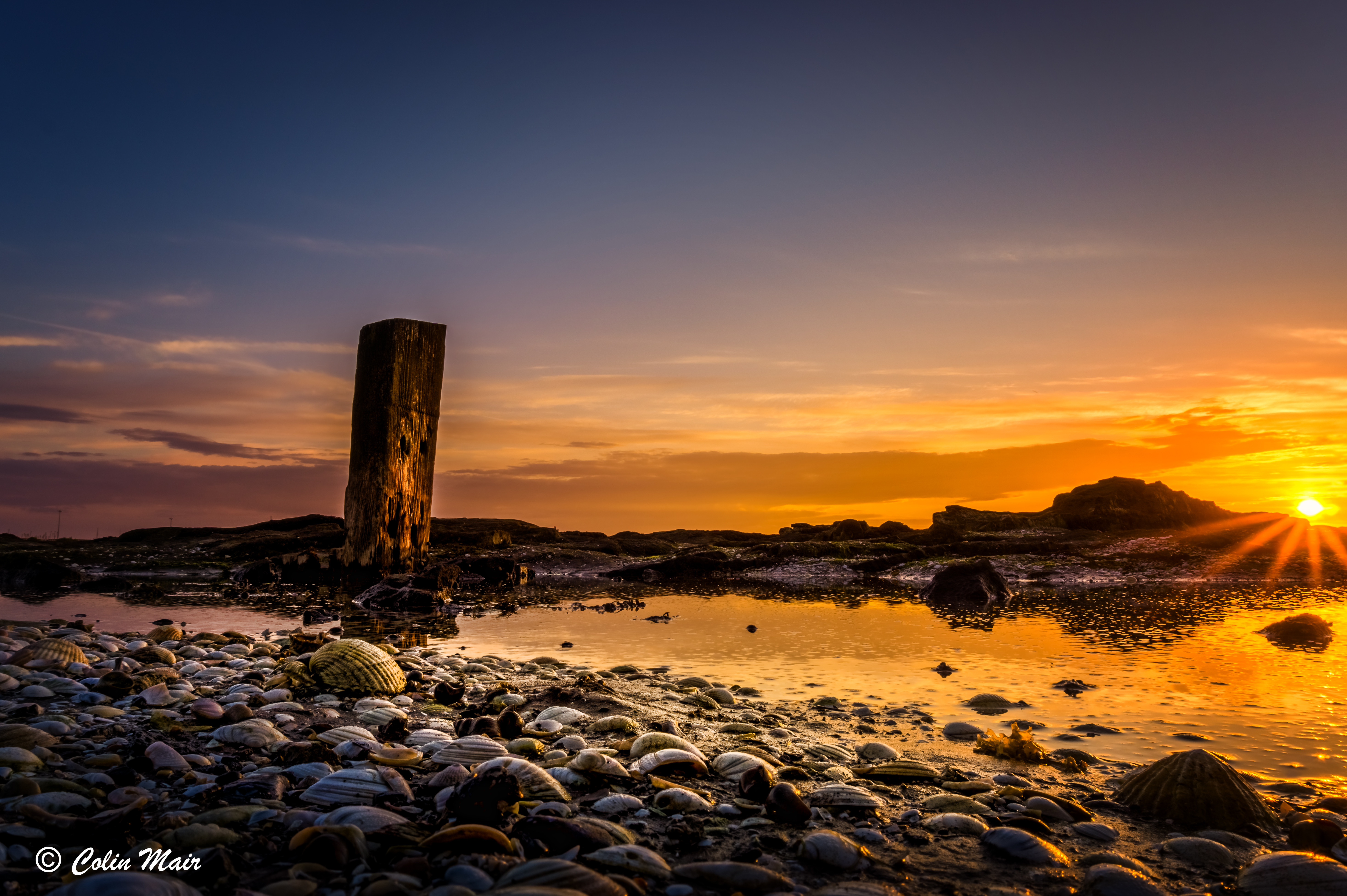 Sunset Log & Shells - 2017-06-02nd, HDR, Troon, Ayrshire, Scotland, UK