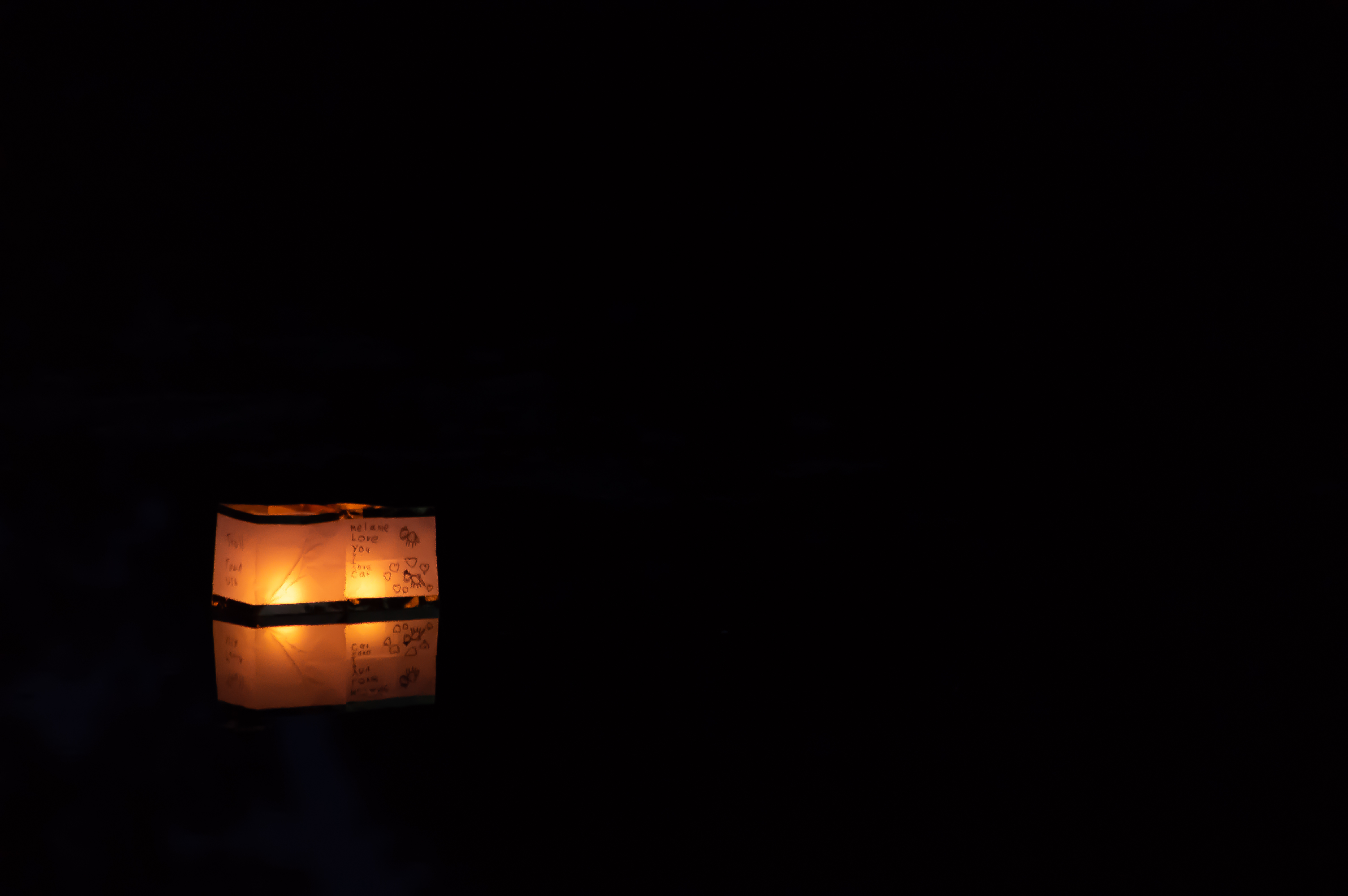 Floating Paper Candle Lanterns - Isolated Dark Reflection