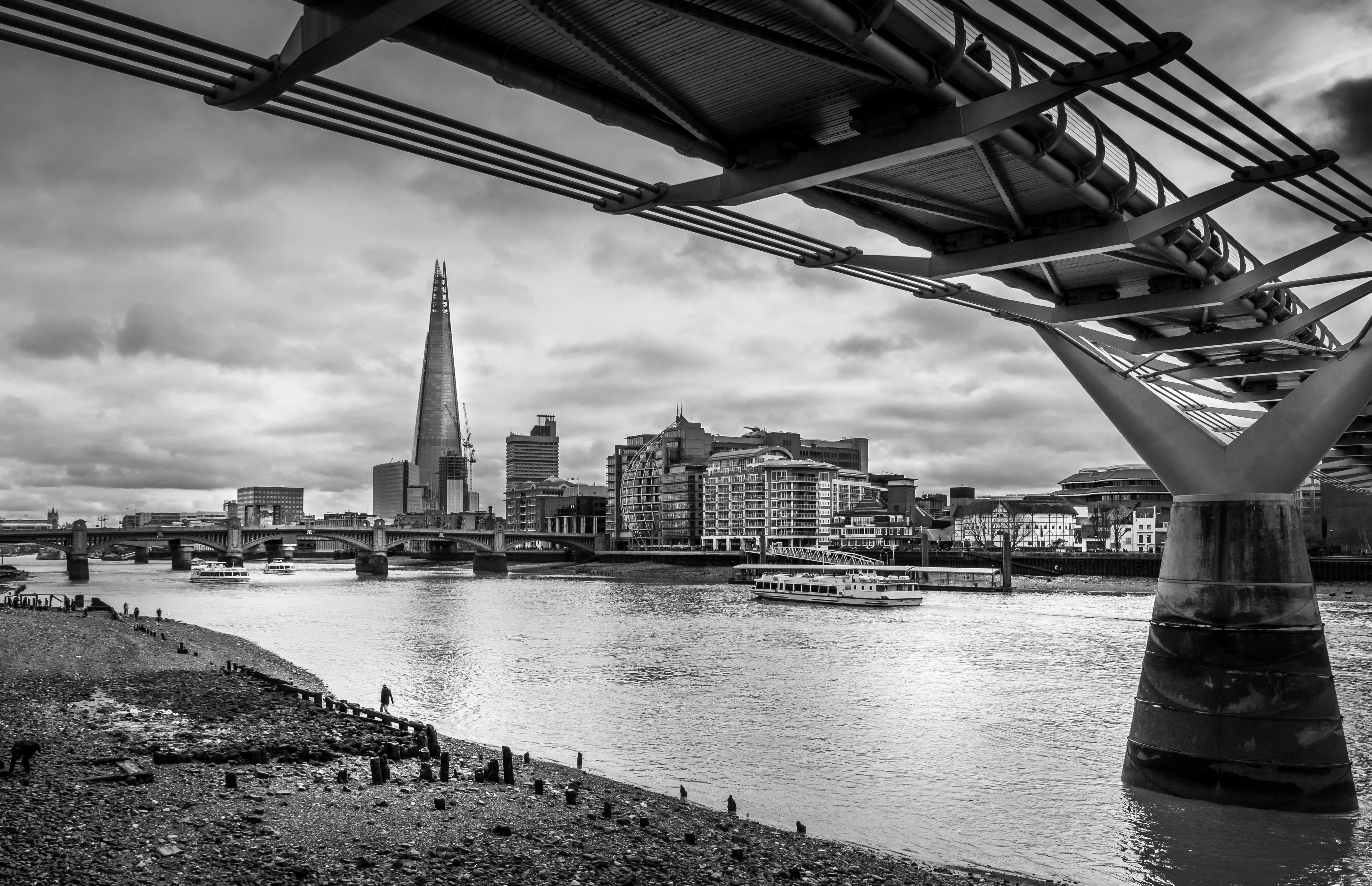 The Shard, from under the Millennium Bridge, London, UK