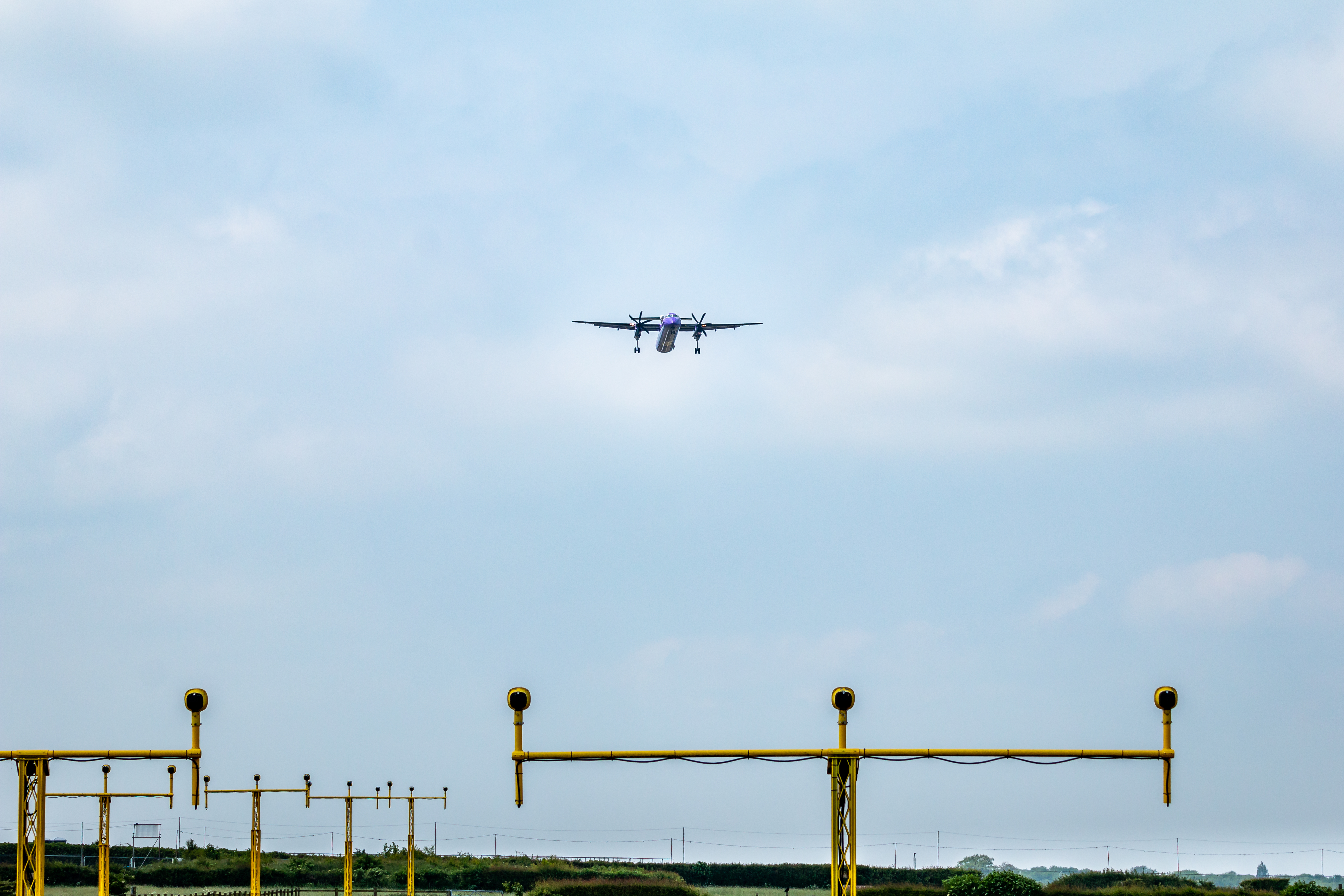 Plane landing at East Midlands Airport