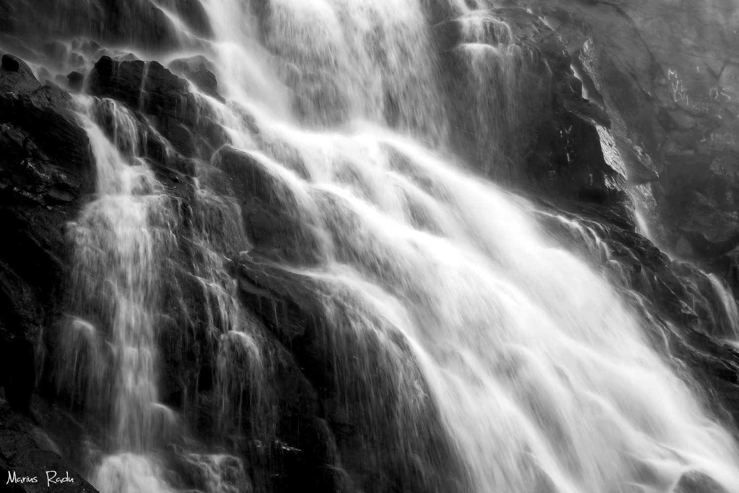 Black-and-white waterfall