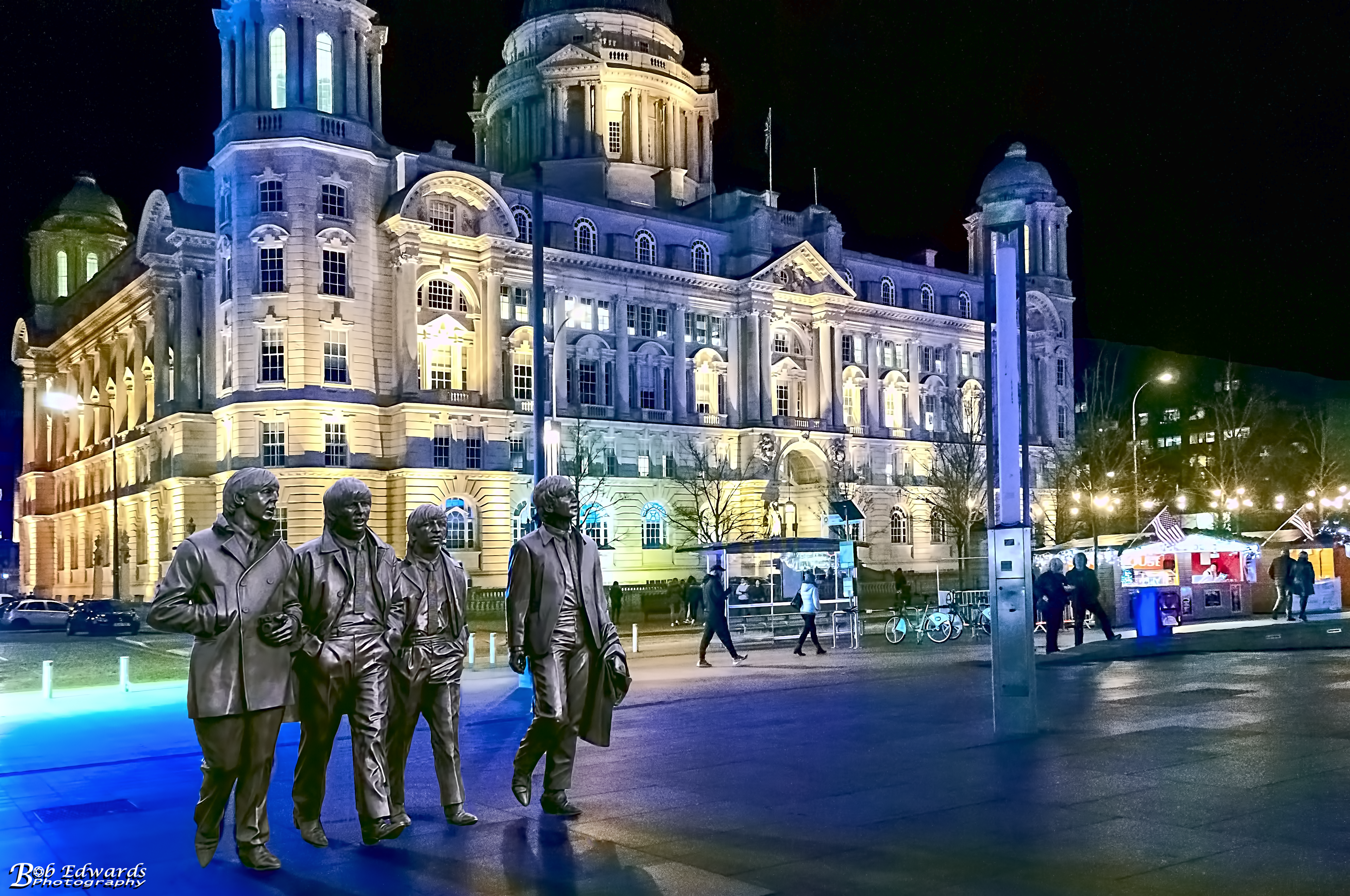 Pier Head Beatles Sculpture at Christmas 2017