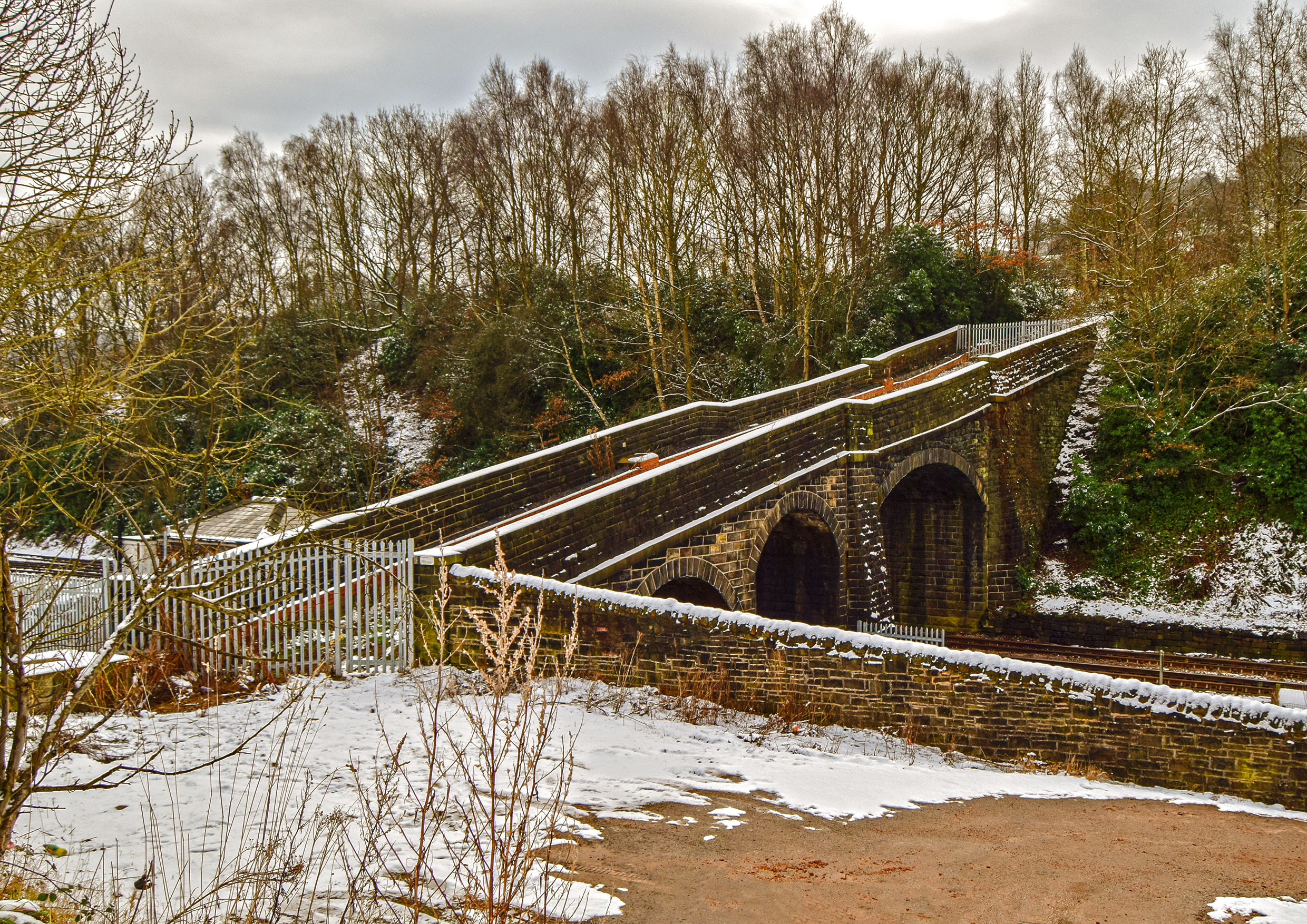 Milner Royd Bridge under Snow.
