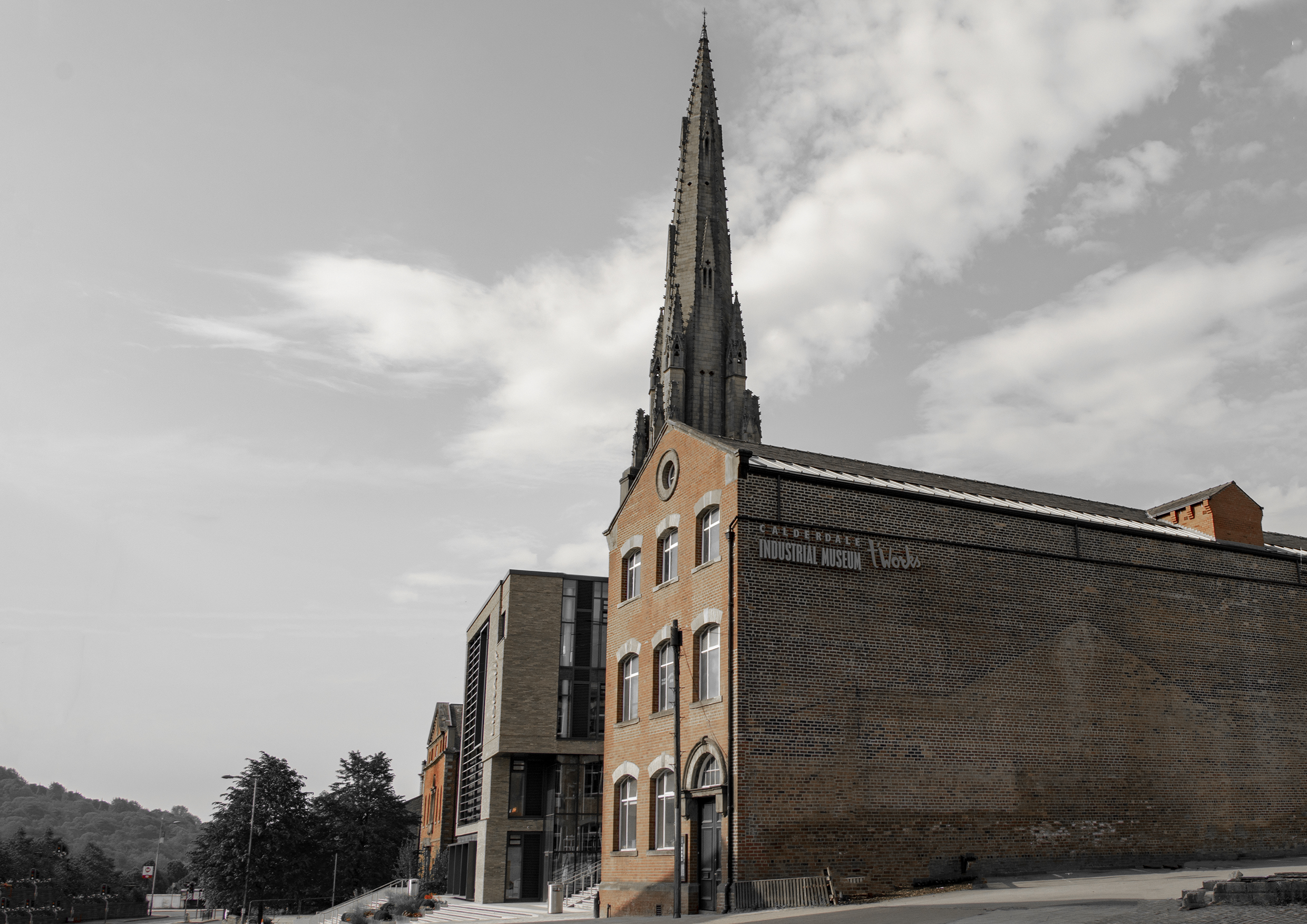 Calderdale Industrial Museum, Halifax Library and Square Church Spire