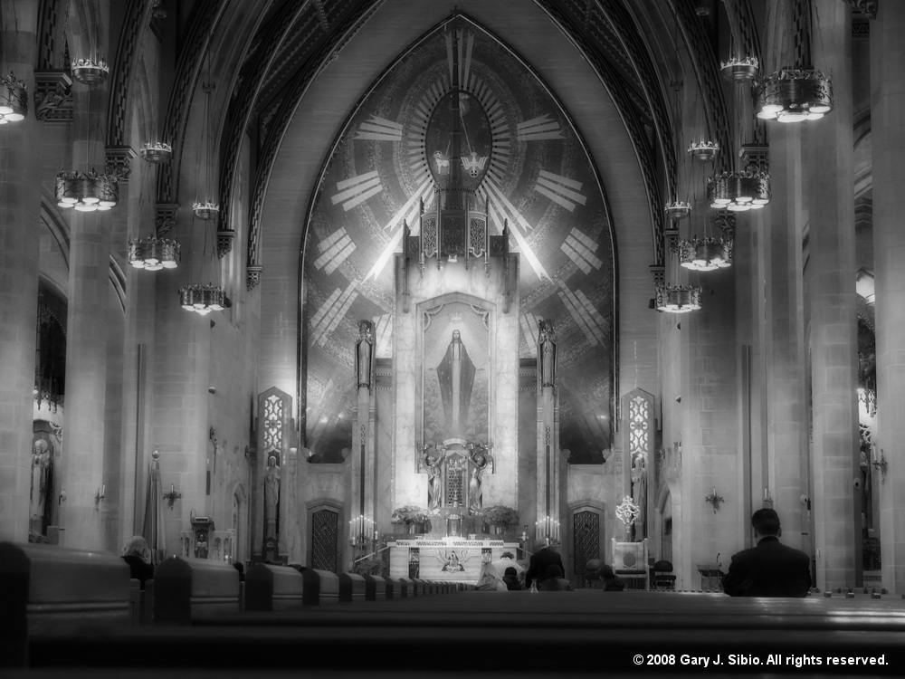Queen of All Saints Basilica Interior Shot (B&W with Orton)  (2012-02-12 13-17-13a)