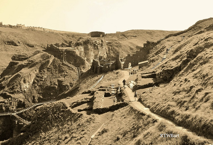 TINTAGEL CASTLE CORNWALL IN SEPIA