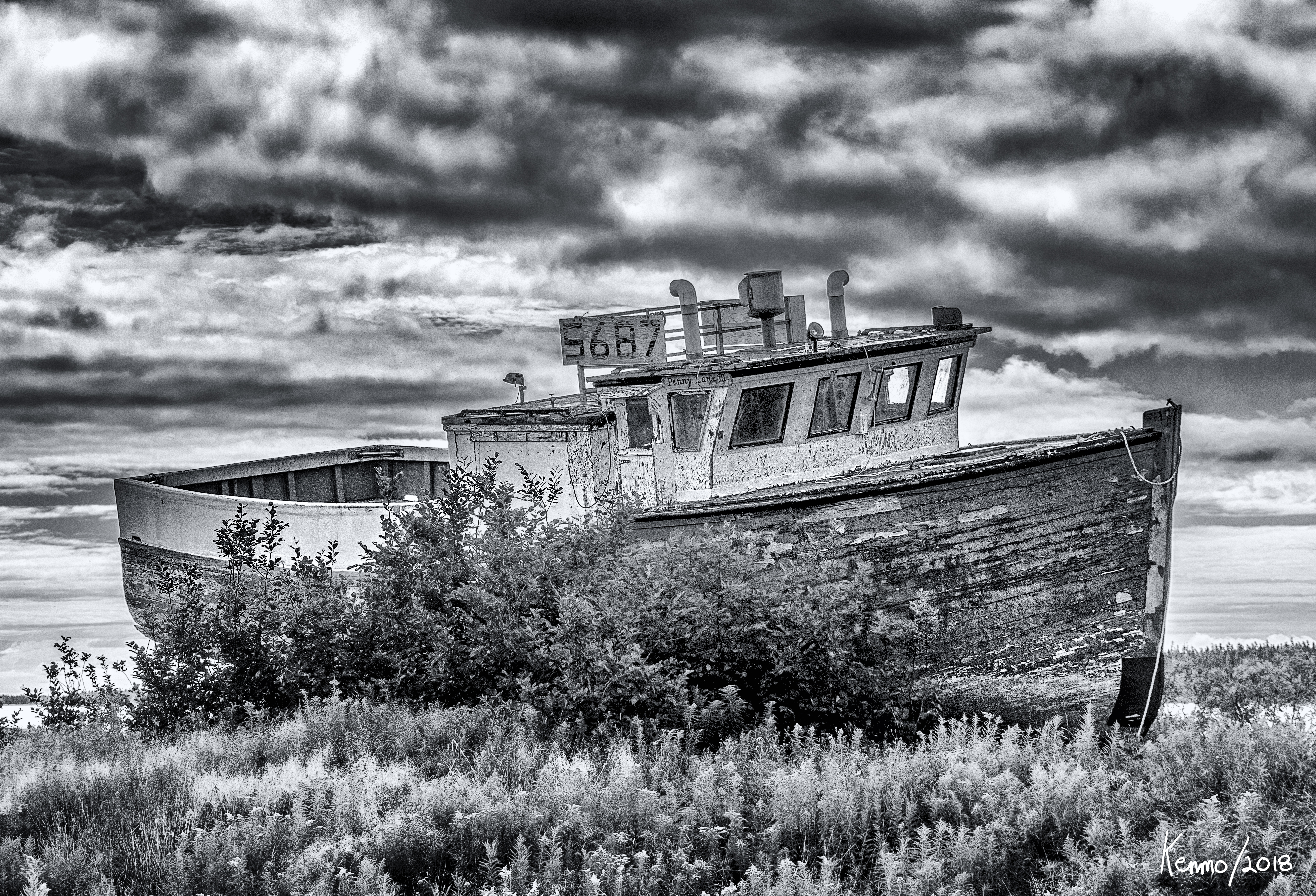 Old Fishing Boat in fishing village of  Marie Joseph, Nova Scotia