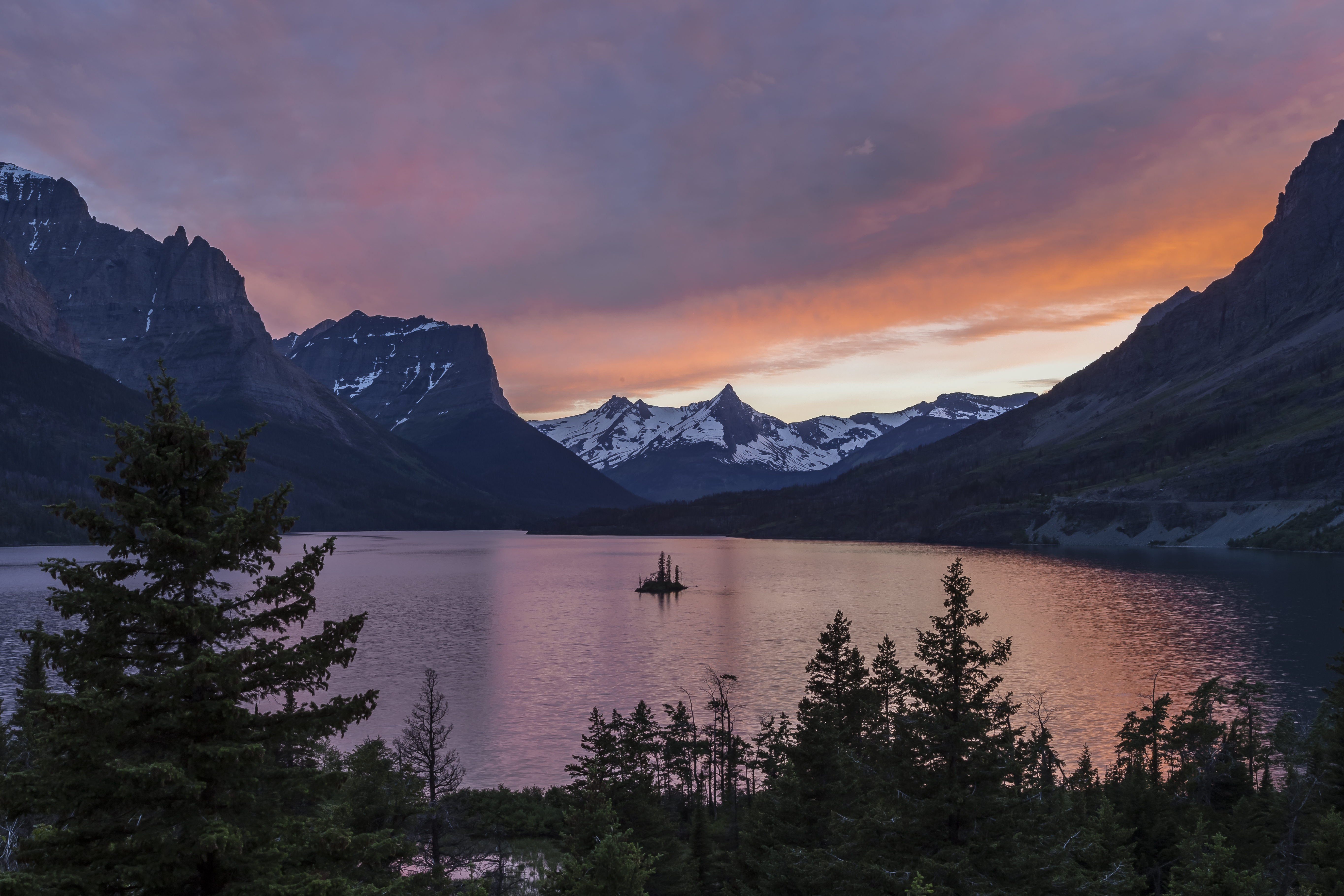 Sunset - St. Mary's Lake Glacier National Park