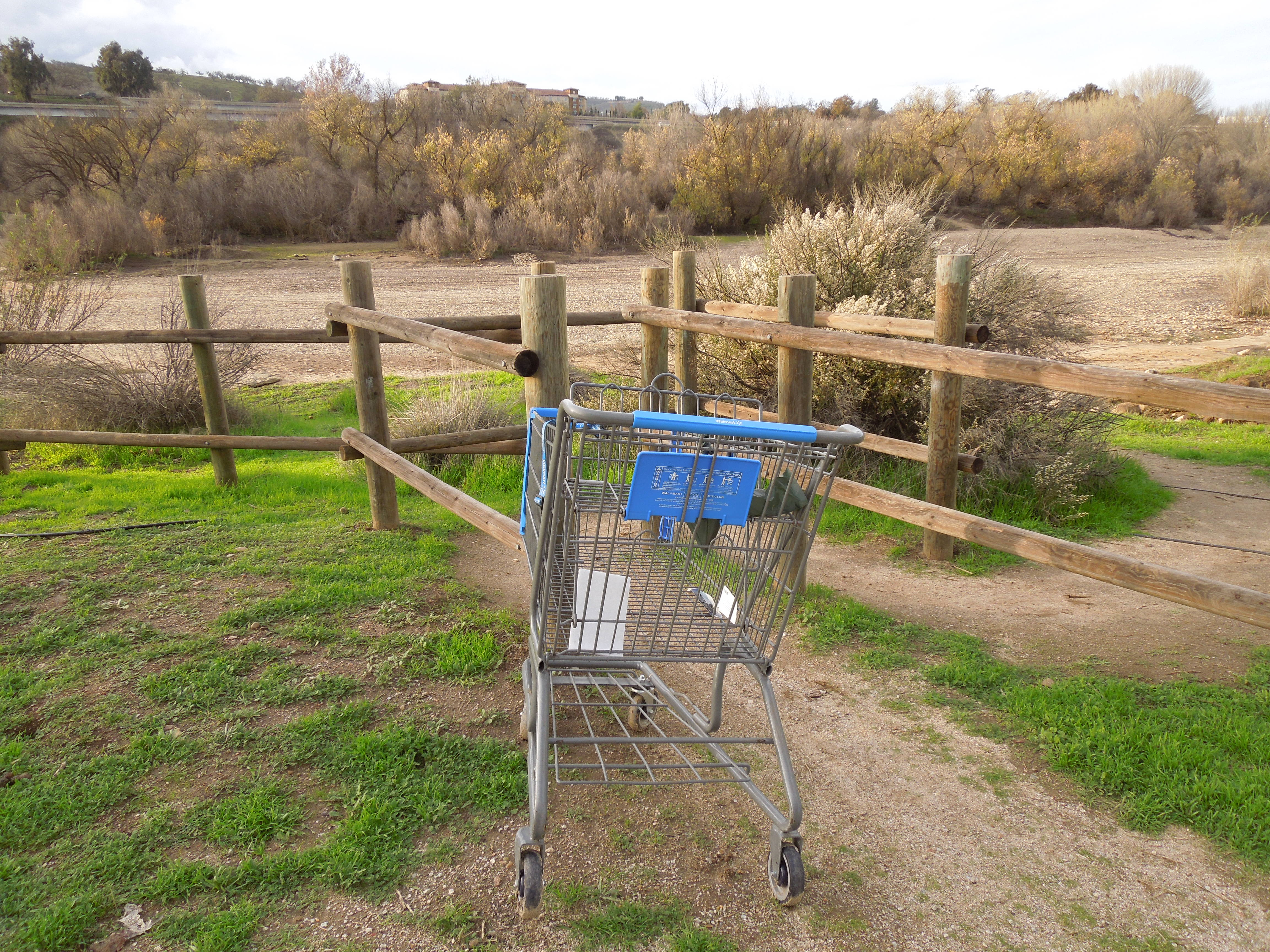 Shopping Cart Parked by Access to Dry Riverbed