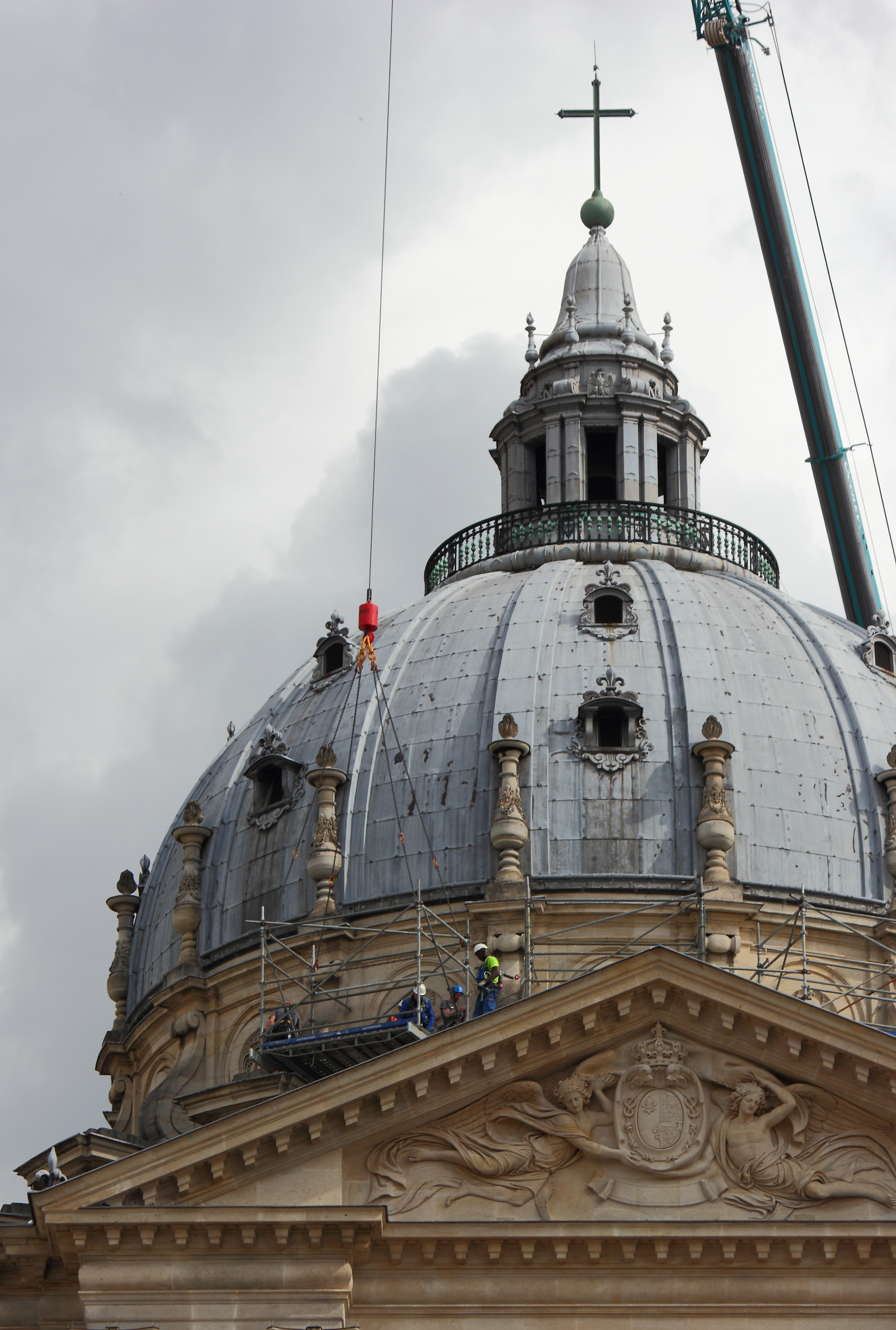 Workers way up on the church 2