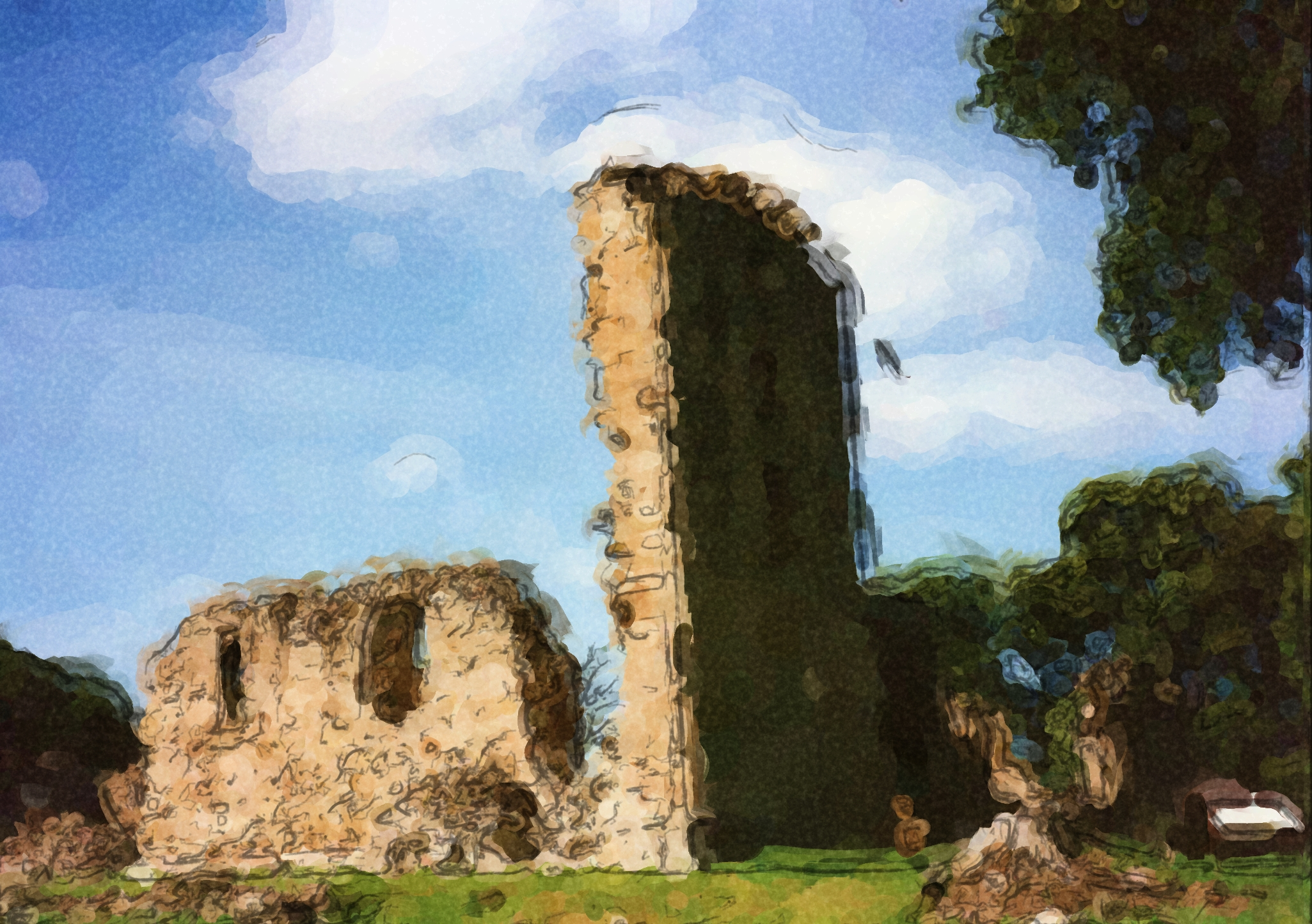 Elgin Cathedral ruins painting