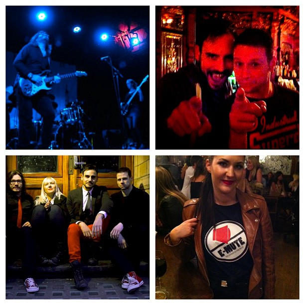 Photo collage from the 1st E-Mute line-up and Maria @lipstickupdates wearing an E-Mute t-shirt