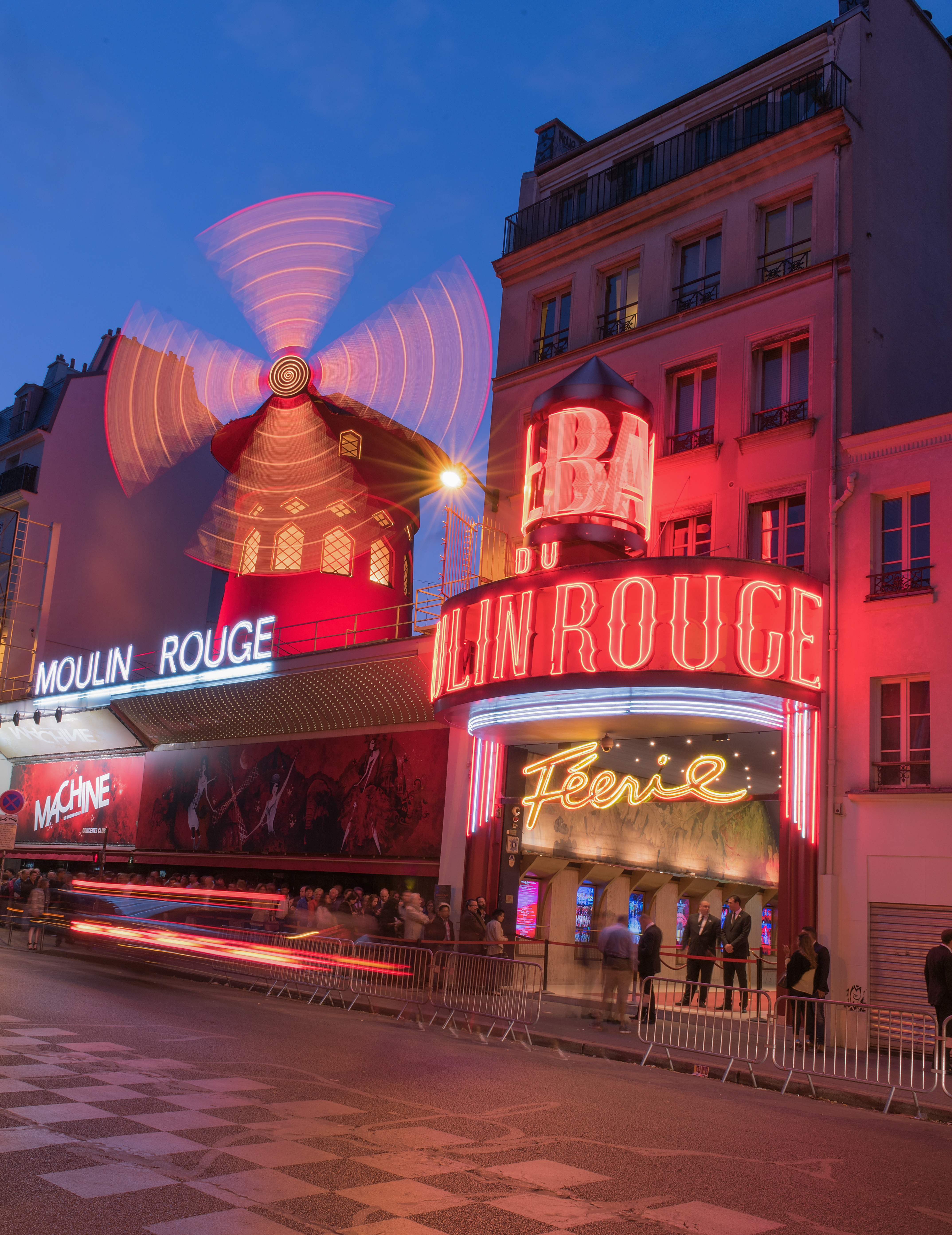 Moulin Rouge with car trails