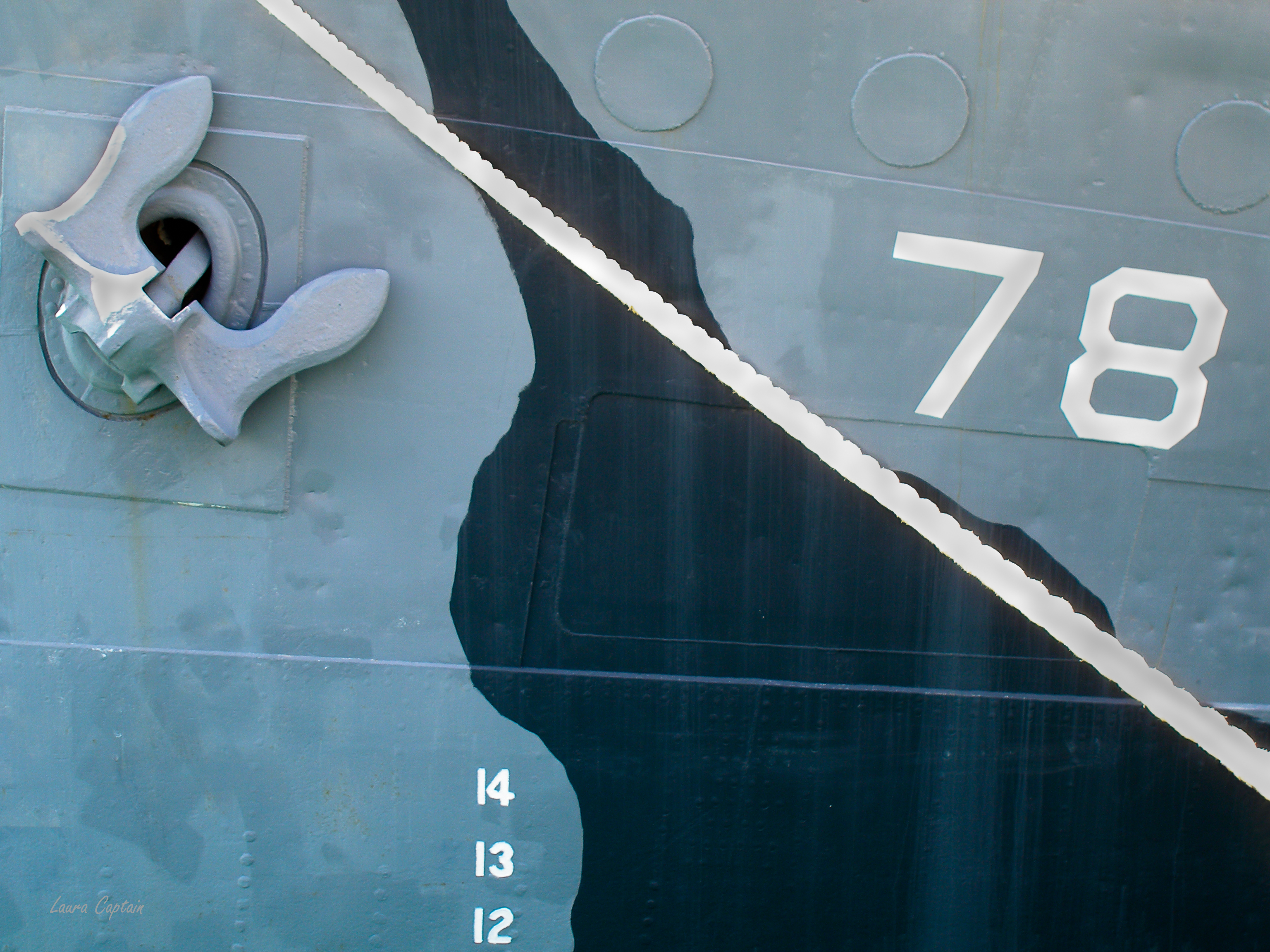 Navy Ship Closeup : anchor, rope, numbers