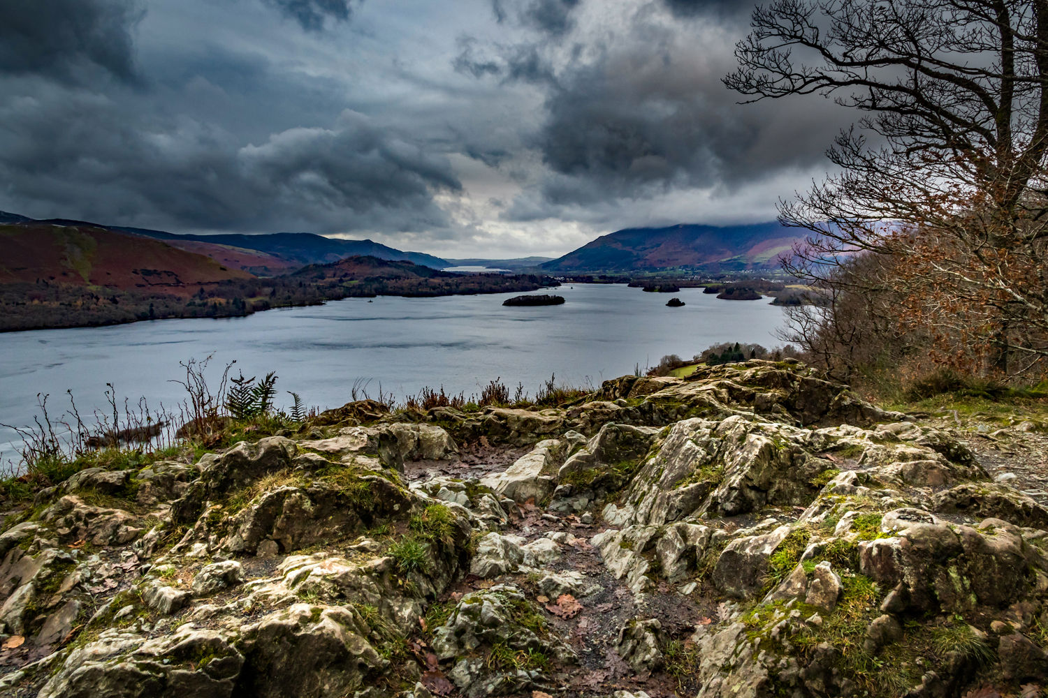 Derwentwater in the English Lake District with Bassenthwaite Lake in the distance